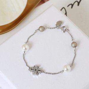 Tory Burch Square Inlaid Pearl Fashion Bracelet